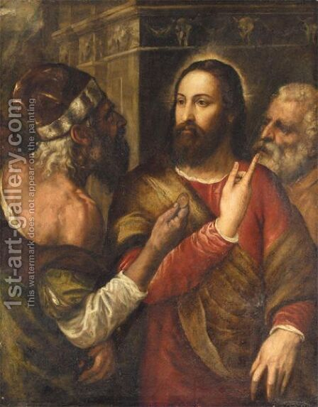 Christ And The Tribute Money by (after) Tiziano Vecellio (Titian) - Reproduction Oil Painting