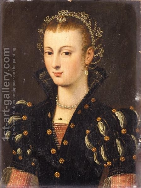 Portrait Of A Noblewoman, Half Length, Wearing A Black Dress And An Elaborate Headress, Said To Be Elisabeth De Valois (1545-1568) by (after) Clouet, Francois - Reproduction Oil Painting
