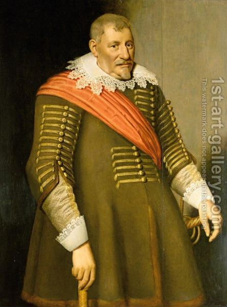 Portrait Of A Gentleman, Three-Quarter Length, Wearing A Red Sash by (after) Anthony Van Ravesteyn - Reproduction Oil Painting