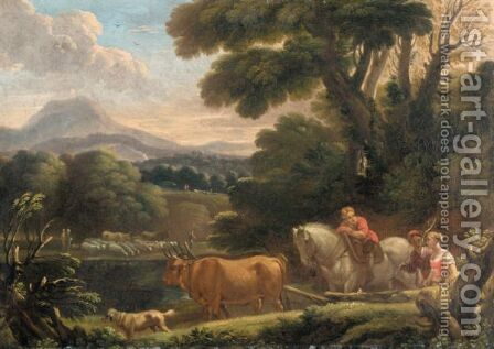 Italianate Landscape With Drovers And Their Animals Beside A River by (after) Pieter The Younger Mulier (Tampesta, Pietro) - Reproduction Oil Painting