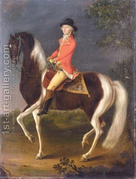 An Equestrian Portrait Of A Gentleman Wearing A Scarlet Coat Riding A Skewbald Hunter by (after) David Morier - Reproduction Oil Painting