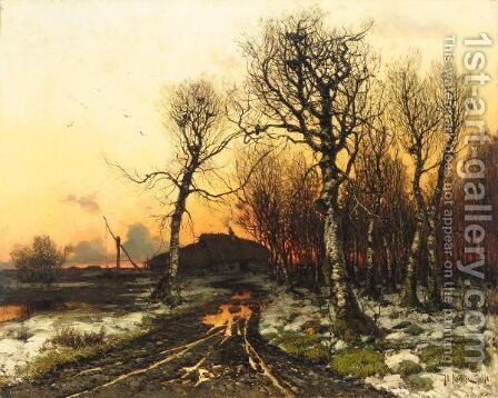 Winter Sunset by (after) Iulii Iul'evich (Julius) Klever - Reproduction Oil Painting