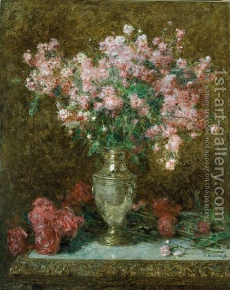 Vase Of Roses by Alexei Alexeivich Harlamoff - Reproduction Oil Painting