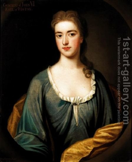 Portrait Of Lady Mary Keith, Countess Of Wigton (D.1721), Wife Of John, 6th Earl Of Wigton by Benjamin Ferrers - Reproduction Oil Painting