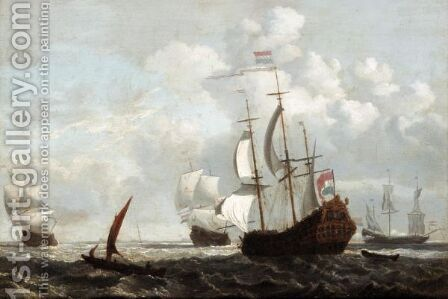 Dutch Shipping Fleet At Anchor by (after) Peter Monamy - Reproduction Oil Painting