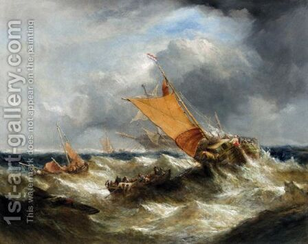 A Dutch Ship Aiding A Dismasted Vessel by (after) William Calcott Knell - Reproduction Oil Painting