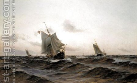 Danish Ships Sailing In A Fresh Breeze by Holger Lubbers - Reproduction Oil Painting