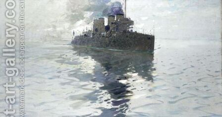 A Battleship by Arvid Johansson - Reproduction Oil Painting
