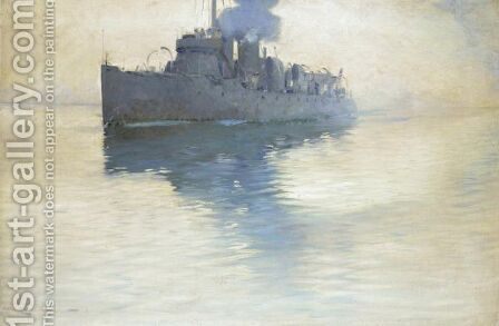 English Destroyer by Arvid Johansson - Reproduction Oil Painting