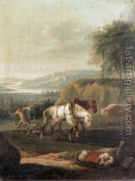 Ploughing The Fields by Continental School - Reproduction Oil Painting