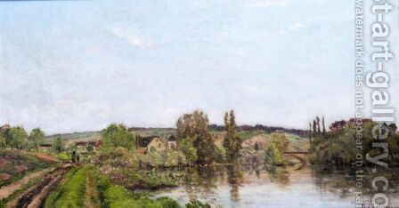 River Landscape by Hippolyte Camille Delpy - Reproduction Oil Painting