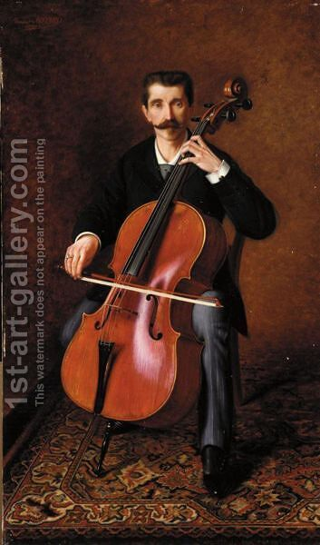 Portrait Of A Cellist by Alexandre-Franois-Louis Comte De Girardin - Reproduction Oil Painting