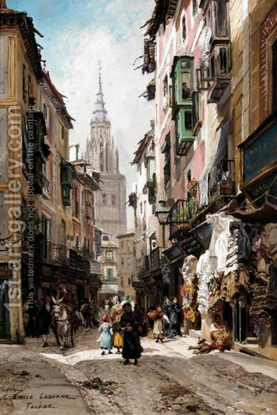 Street Scene, Toledo by Edme Emile Laborne - Reproduction Oil Painting