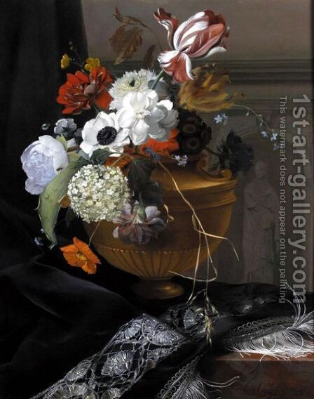 Still Life Of An Urn Of Flowers by Arthur Chaplin - Reproduction Oil Painting