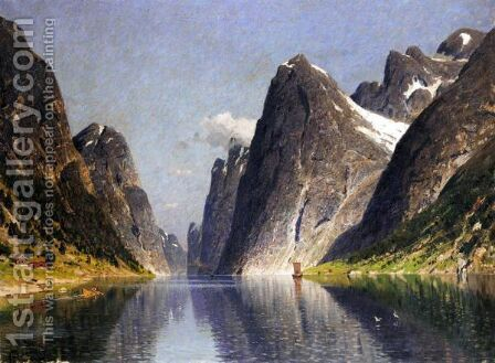 View Of A Fjord 4 by Adelsteen Normann - Reproduction Oil Painting