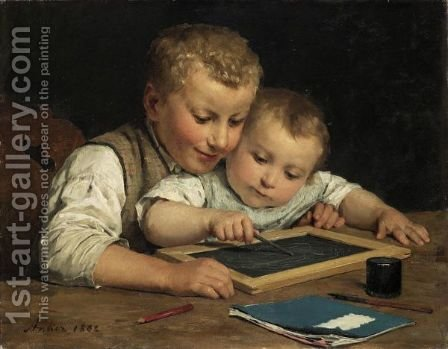 Two Children With A Slate Board, 1882 by Albert Anker - Reproduction Oil Painting