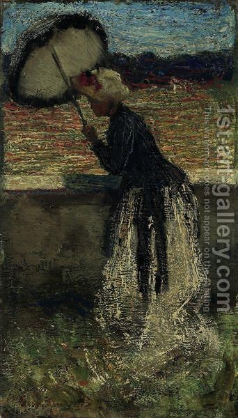 Donna Con Ombrellawoman With An Umbrella by Giovanni Segantini - Reproduction Oil Painting
