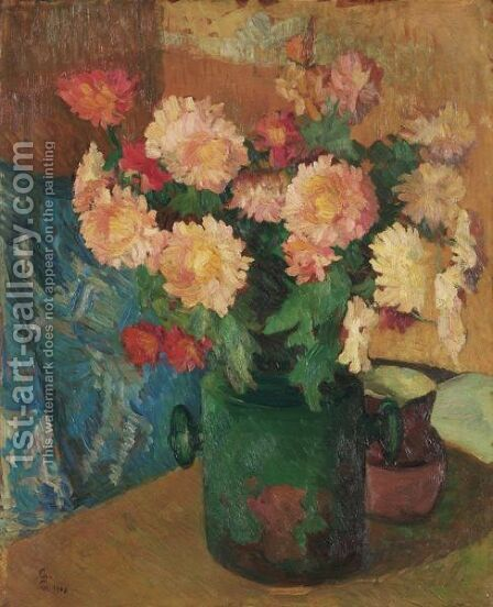 Still-Life With Chrysanthemum, 1908 by Giovanni Giacometti - Reproduction Oil Painting