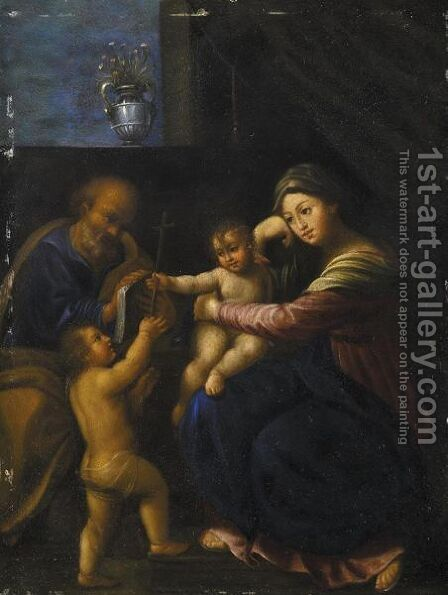 Sacra Famiglia Con San Giovannino by Italian School - Reproduction Oil Painting