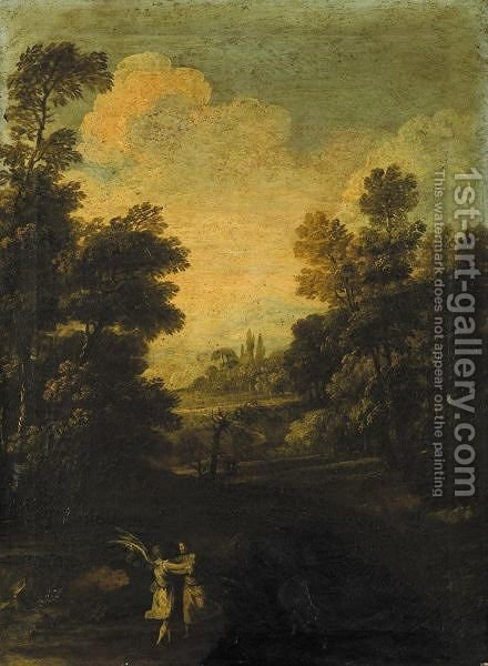 Lotta Di Giacobbe Con Un Angelo In Un Paesaggio by Italian School - Reproduction Oil Painting