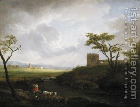 Paesaggio Della Campagna Romana Con Figure, Animali E Un Castello by (after) Hendrik Frans Van Lint (Studio Lo) - Reproduction Oil Painting