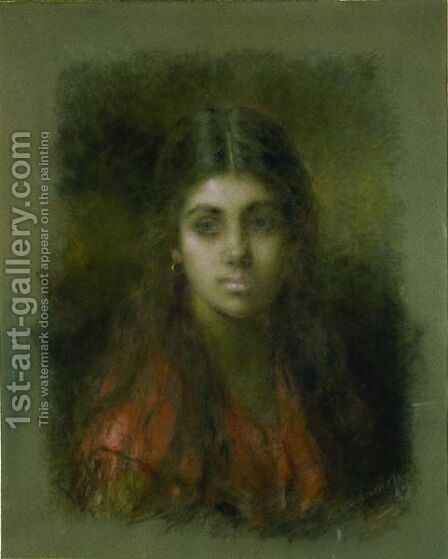 Young Beauty 2 by Alexei Alexeivich Harlamoff - Reproduction Oil Painting