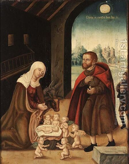 The Adoration Of The Virgin by (after) Lucas The Elder Cranach - Reproduction Oil Painting