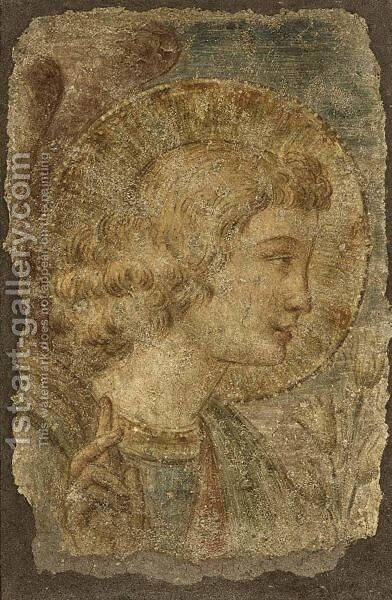 The Head Of The Angel Gabriel by (after)  Benozzo Di Lese Di Sandro Gozzoli - Reproduction Oil Painting