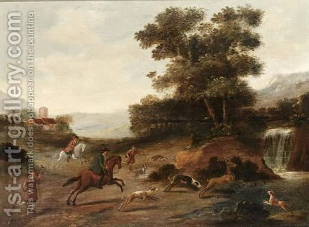 A Landscape With Sportsmen Together With Their Hounds Hunting A Deer by (after) Jan Wyck - Reproduction Oil Painting