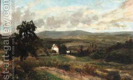 View Of A Mountaineous Landscape by Henri-Joseph Harpignies - Reproduction Oil Painting