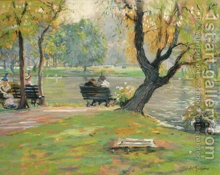 A Sunny Afternoon In The Park, Boston by Arthur C. Goodwin - Reproduction Oil Painting