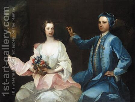 Portrait Of Robert Mason Of Masonbrook, Loughrea, County Galway, And His Wife, Sara Monck by Charles Jervas - Reproduction Oil Painting