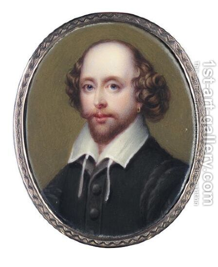 Portrait Of William Shakespeare by Henry Bone - Reproduction Oil Painting