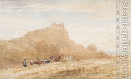 Harlech Castle With A Herdsmen And Cattle In The Foreground by David Cox - Reproduction Oil Painting