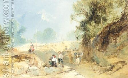 Figures Road Making, Surrey by James Baker Pyne - Reproduction Oil Painting