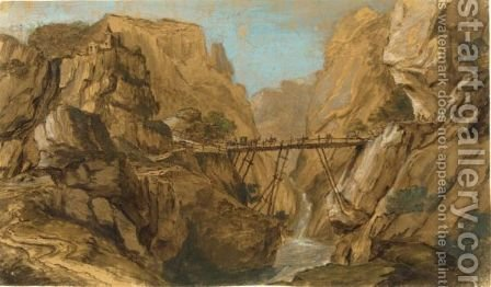 A Rugged Italianate Landscape With A Stone Bridge And Figures In The Foreground by Dutch School - Reproduction Oil Painting
