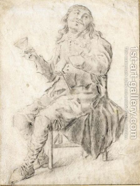 Study Of A Seated Drinker by (after) Pieter Codde - Reproduction Oil Painting