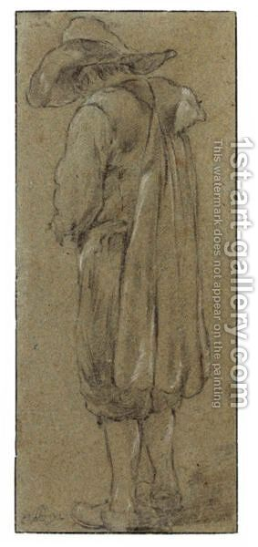 Study Of A Standing Man Wearing A Hat And Cloak, Seen From Behind by (after) Cornelis (Pietersz.) Bega - Reproduction Oil Painting