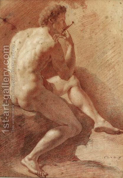 Study Of A Male Nude Playing The Flute by Adriaen Van Der Werff - Reproduction Oil Painting