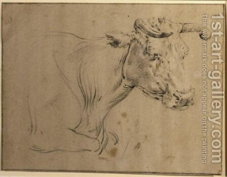 Study Of A Cow by (after) Paulus Potter - Reproduction Oil Painting