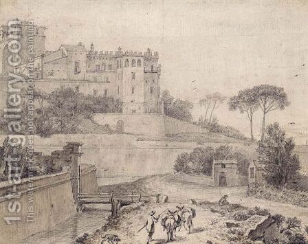 View Of The Belvedere, Rome, With Travellers And Their Donkeys In The Foreground by Isaac de Moucheron - Reproduction Oil Painting