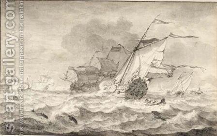 Merchant Ships And Smaller Sailing Boats In A Strong Breeze, Dolphins In The Waves by Hendrik Rietschoof - Reproduction Oil Painting