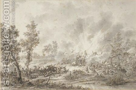 A Military Convoy Surprised By An Explosion by Dirck Langendijk - Reproduction Oil Painting