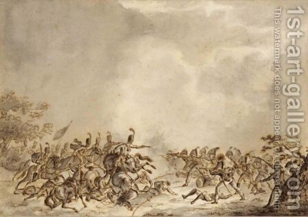 A Battle Scene Between Infantry And Cavalry by Jan Anthonie Langendijk - Reproduction Oil Painting
