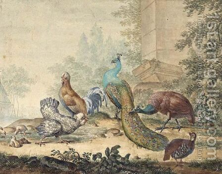 A Peacock And Peahen With Other Fowl In A Yard by Jabes Heenck - Reproduction Oil Painting