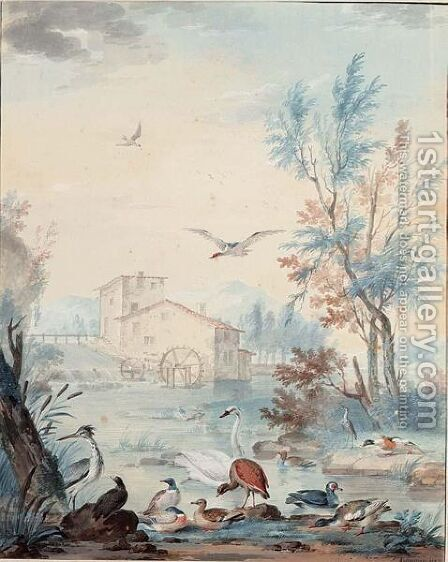 A River Landscape With A Watermill, A Swan And Other Waterbirds In The Foreground by Aert Schouman - Reproduction Oil Painting