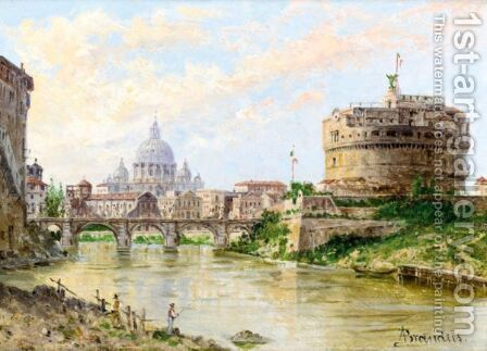 A View Of The Tiber With Castel Sant' Angelo And St Peter'S by Antonietta Brandeis - Reproduction Oil Painting