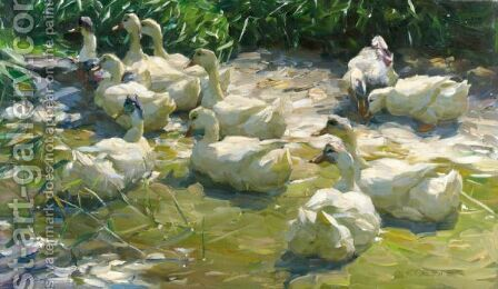 Ducks On A Lake 3 by Alexander Max Koester - Reproduction Oil Painting