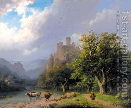 Landscape With A Castle, Figures And Cows by Barend Cornelis Koekkoek - Reproduction Oil Painting