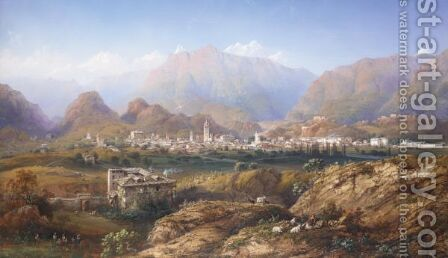 View Of Susa, Savoy by Carlo Bossoli - Reproduction Oil Painting